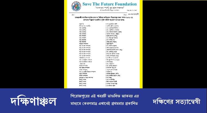 সেভ দ্য ফিউচার ফাউন্ডেশন পিরোজপুর জেলা শাখার কমিটি গঠন